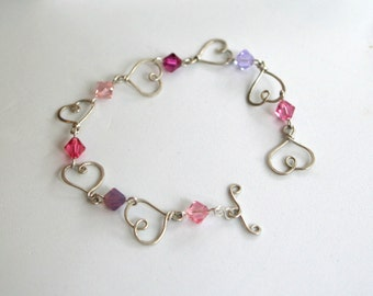 Sweet Heart Hammered Link Pink Silver Bracelet - Cyberlily