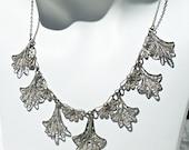 Filigree Silver Wirework Necklace Dangles Collar Bib Ethnic Handmade Vintage