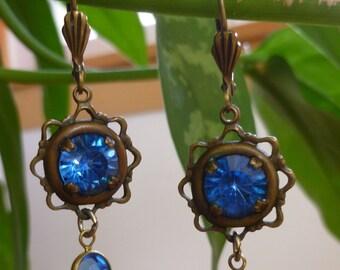 Vintage Sadie Green Royal Blue Austrian Crystal And Brass Drop Earrings