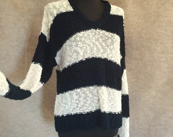 Vintage 80's Striped Sweater, Navy Blue and White, Slouchy Knit V Neck, Size Medium