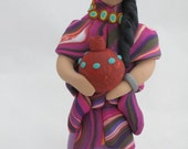 Women of the earth polymer clay sculpture figurine with pottery