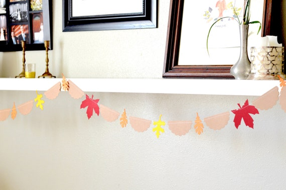 Autumn Leaves and Scallops Garland - reusable and customizable fall decor