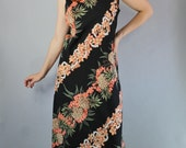Vintage 90s Women's Hilo Hattie Tropical Hawaiian Print Beach Vacation Maxi Dress