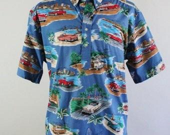 Reyn Spooner Shirt. Tropical Shirt. Classic Cars Shirt. Hawaiian Shirt. Casual Dress Shirt. Vintage. Mens Xl. GOGOVINTAGE