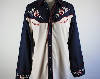 Roper Western Shirt. Embroidered Roses Western Shirt. Rockabilly. Vlv. Snap Button Shirt. Two Tone Khaki Navy Blue. Size 2XL