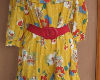 Off the shoulder, yellow and flowers ruffled cotton dress