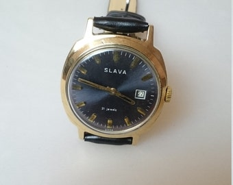 Vintage watch Slava, mens watch, huge watch, gold watch