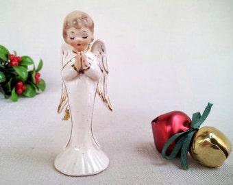 Vintage Porcelain Ceramic Christmas Angel Figurine Ornament, Praying Angel Christmas Ornament Figurine, Holiday Decoration, Made in Japan