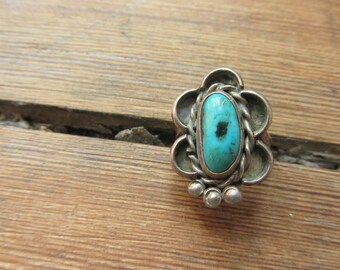 Vintage Native American Ring, Navajo Ring, Sterling Silver Ring, Turquoise Ring, American Indian Ring, Southwestern Jewelry, Boho Ring