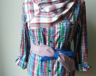 Plaid Cowl Neck Shirt with Necktie Belt, Upcycled Clothing, Repurposed Mens Shirt, Oversized Boyfriend Shirt, Plaid Tunic, Cowgirl Chic