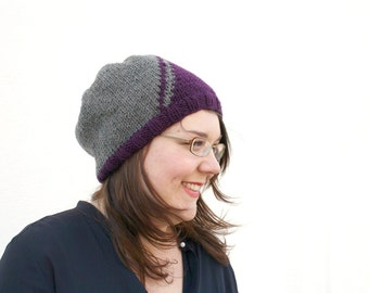 Knit Slouchy Beanie, Purple and Grey Geometric Hat, Hand Knitted Womens Beanie, Diagonal Stripe Beanie Hat, Men's Winter Fashion, Gray Plum