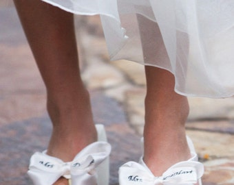 Bridal Flip Flops Wedding Flip Flops Ivory Wedge White Platform Satin Personalized Mrs Last Name Custom Bow Bridesmaid Gift