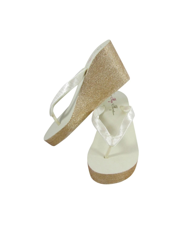 Ivory  Gold Glitter Bling Bridal Flip Flop Wedges Or White-1694