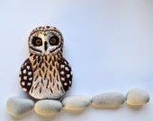 Short Eared Owl, needle felted and embroidered brooch