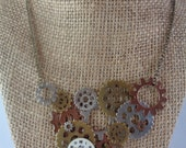 Now's the Time necklace - Large gear statement necklace with clock face // Industrial //Steampunk