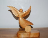 Beautiful Dancing Woman ~ Artist carved wood table top Sculpture ~ Signed K. Bailey
