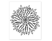 Coloring Book Page Instant Digital Download - hand drawn floral folk art mandala - black and white drawing art print by Jessica Torrant pg 3