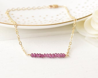 Garnet Gemstone Bar Bracelet - Layering - Sterling Silver & 14k Gold Filled