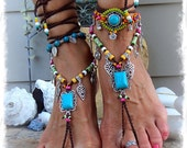 Turquoise Boho BAREFOOT Sandals FESTIVAL sandal Native Cowgirl Toe Thongs Statement foot wear Nature Wedding crochet foot jewelry GPyoga