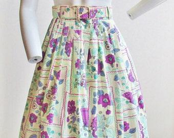 "1950's Novelty Print Circle Skirt and Belt 24"" Waist NWT"