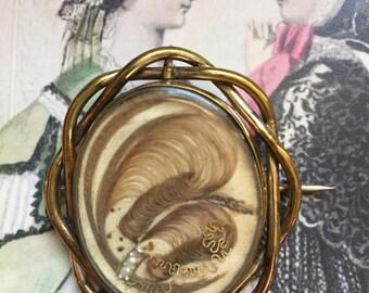 Victorian Hair Swivel Brooch 1850