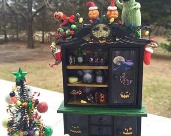 Layaway Available Dollhouse Miniature Christmas or Halloween Cabinet Tree and Ghost Dog set