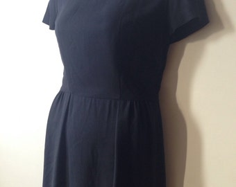 Vintage Little Black Dress XL Women 60s Dress LBD