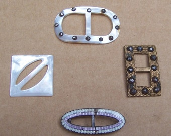 Art Deco belt buckles 4 dress buckle mother of pearl buckle sash buckle antique buckle  (ZAG)