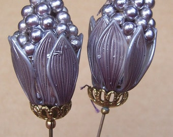 Vintage hat pins 2 moulded celluloid metal effect hair jewelry hat ornament ladies hat Victorian Edwardian (ZAC)