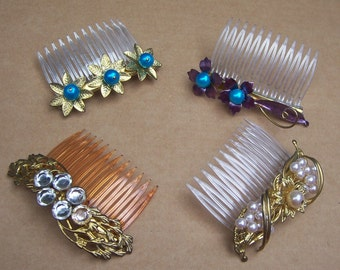 Vintage hair combs 4 mid century embellished hair accessory, hair jewelry decorative comb hair pin hair pick (XXB)