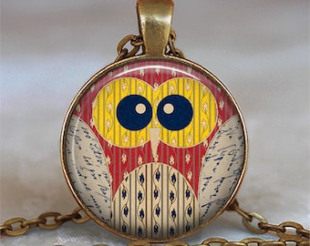 Yellow-Eyed Owl necklace, cute owl necklace owl pendant owl jewelry owl jewellery owl lover gift, owl key ring owl key chain