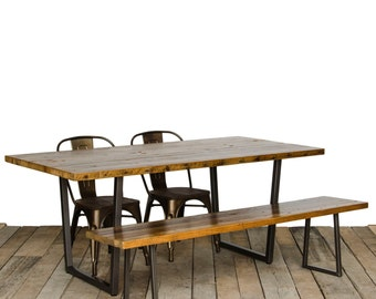 "Reclaimed Wood Dining Table with 1.65"" wood top and modern square steel tapered legs"