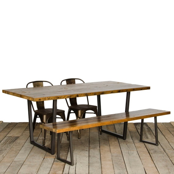 Reclaimed Wood Dining Table With Wood Top And