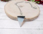 Opalite Triangle Necklace - Opalite Pendant - Gemstone Necklace -  Opalite Arrowhead Necklace