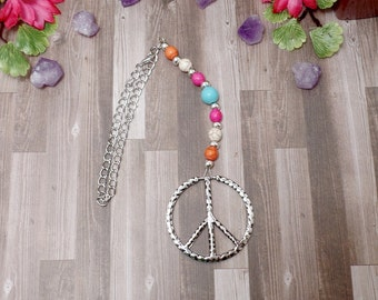 Colorful Howlite Peace Sign Rear View Mirror Charm - Car Charm