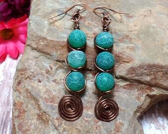 Green and Copper Gemstone earrings - Swirl Earrings - Agate Earrings - Green Earrings - Clearance