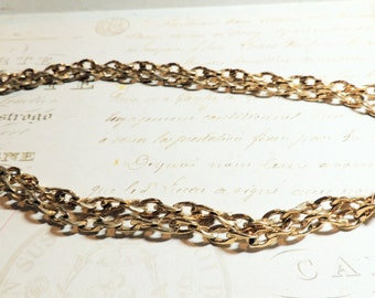 Givenchy Necklace Chain Super Long Yellow Gold Shiny 46 Inches Vintage Jewelry