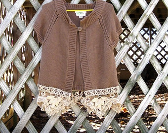 Brown cardigan sweater with ecru vintage crocheted lace trim, size small, romantic short sleeve cardigan sweater, upcycled by Lily Whitepad