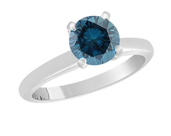 Platinum Fancy Blue Diamond Solitaire Engagement Ring 1.00 Carat Certified Handmade