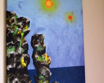"""Two Suns Sci-fi """"Extra Warmth,"""" 16x20 Original Acrylic on Canvas Painting - FREE Shipping USA"""