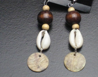 Wood and Cowrie Shell Earrings