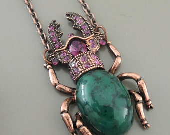 Scarab Necklace - Statement Necklace - Scarab Necklace - Rhinestone Necklace - Green Necklace - Purple Necklace - Beetle Necklace