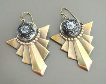 Art Deco Earrings - Vintage Earrings - Black and White Earrings - Chevron Earrings - Brass Earrings  - handmade jewelry