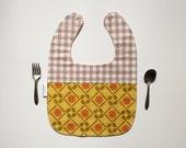 Owlette Gender Neutral Baby Bib Spoons and Plates Gingham Print Yellow Tan Orange Snap Closure 3 months Teething Bib