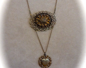Vintage Ornate Layered Filigrees  Assemblage Pendant Necklace with Vintage Chain and Heart