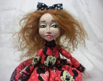 OOAK interior polymer clay  Art Doll, shelf sitter, mini doll, handmade clay doll boudoir