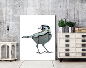 bird poster, blackbird silhouette in blue, silhouette art, 11x14 bird print, slate animal art, woodland decor, minimal scandinavian graphic