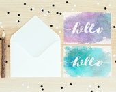 HELLO Cards - Simple Minimalist Watercolor art Handpainted Blank Greeting Cards - Hello Greeting Cards - snail mail card - just because card