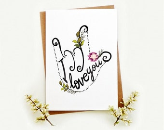 American Sign language Love card. ILY love ASL card. I Love you Sign card. LC330