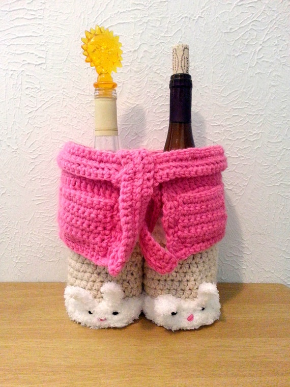 Cozy Robe Spa Gift Basket, Crochet Basket, Bunny Basket, Bottle Holder, New Mom Gift, Shower Gift